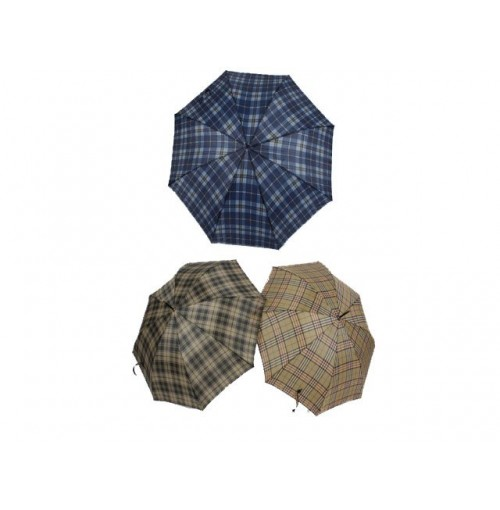 Umbrella Traditional Check With  Wood Handle 58.5cm