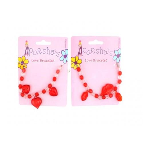 Ladies Love Lips/ Heart Beads Bracelet On Card Styles