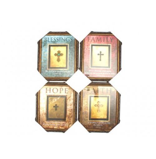 Religious Plaque / Frame 4 assorted 19.5x24.5cm