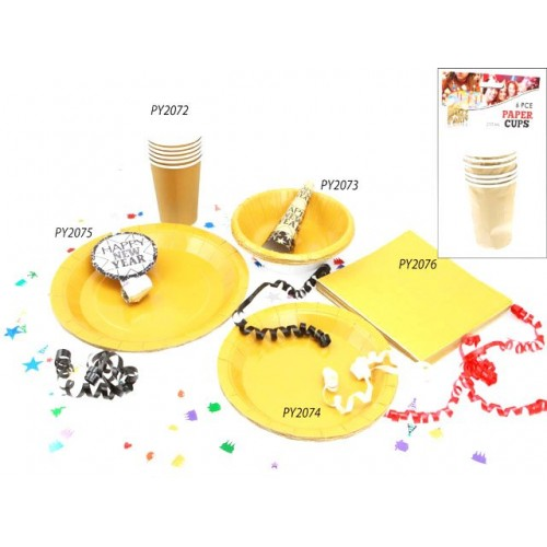 Cups Paper 6pc Gold 210ml