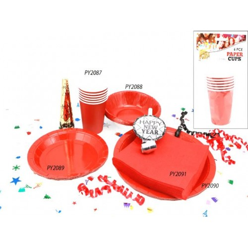 Cups Paper 6pc Red 210ml
