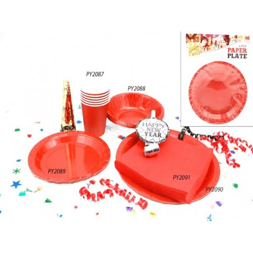 Plates Paper 6pc Red 18.5cm