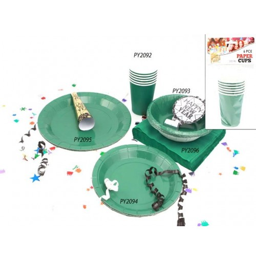 Cups Paper 6pc Green 210ml