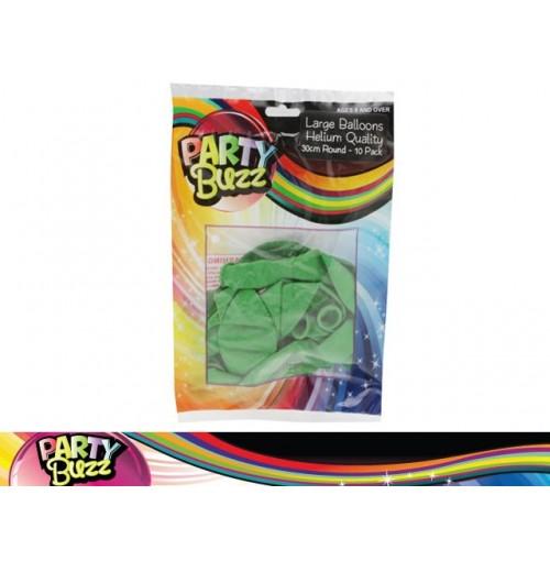 Party Buzz Balloons Green 10pk Lge 30cm