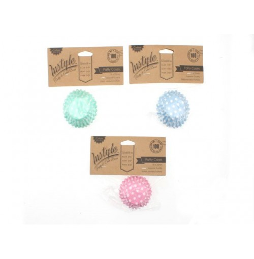 Instyle Patty Cases 30x25mm 100pk Pink Blue Mint Dot