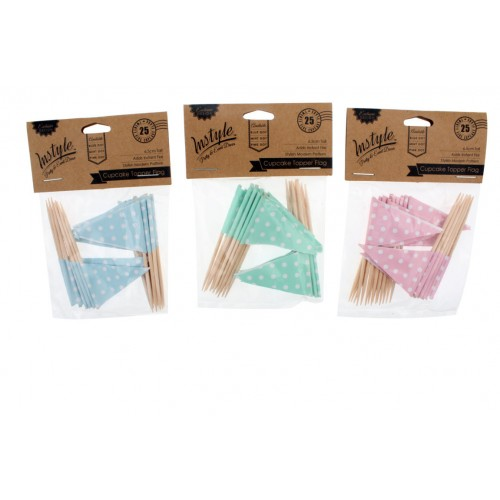 Instyle Cupcake Topper Flag 25 Pk Pink Blue Mint