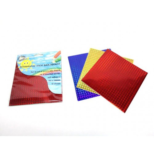 Holographic Sticky Back Squares 3 Assorted colors