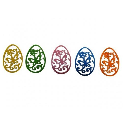 6pce Felt Easter Stickers Eggs 9cm