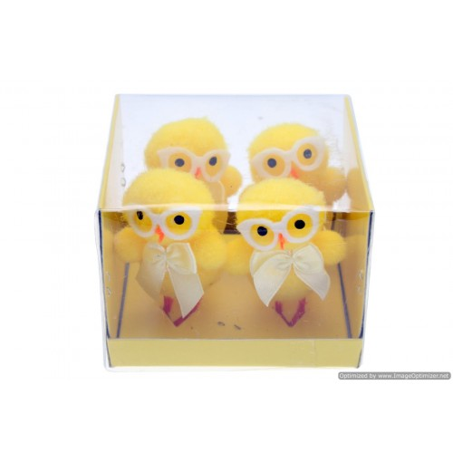 Easter Chickens  With Glasses 6.5cm 4pce