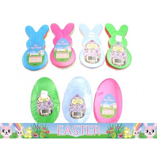 Eva Foam Eggs & Bunnies 20 Pk Pastel & Bright