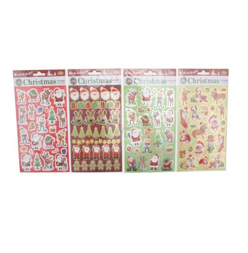 Xmas Stickers 50pk Foil & Glitter Value Pack 2 Asst