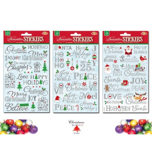 Xmas Foil Embossed Stickers Words