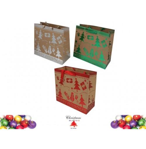 Gift Bag Foil Print 32x26x14cm 3 Asst Slv Red Grn
