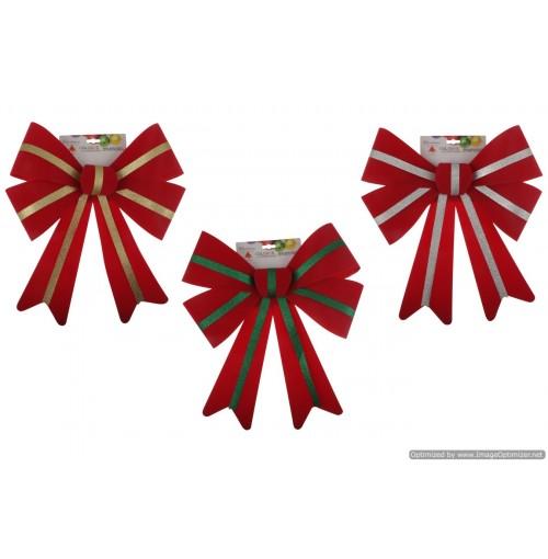 Xmas Bow Velvet Glitter 35.5x50cm 3 Asst Clrs