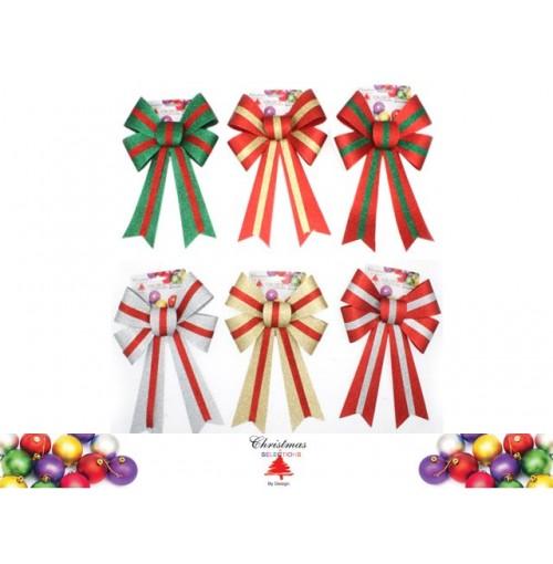 Xmas Bow Glitter W/Stripe 30x20cm 6 Asst