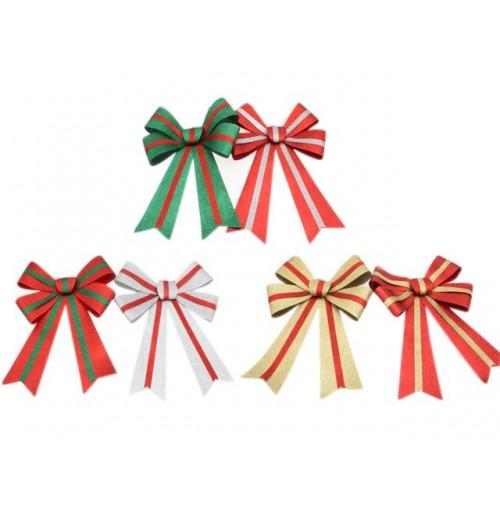 Xmas Bow Glitter W/Stripe 32x43cm 6 Asst