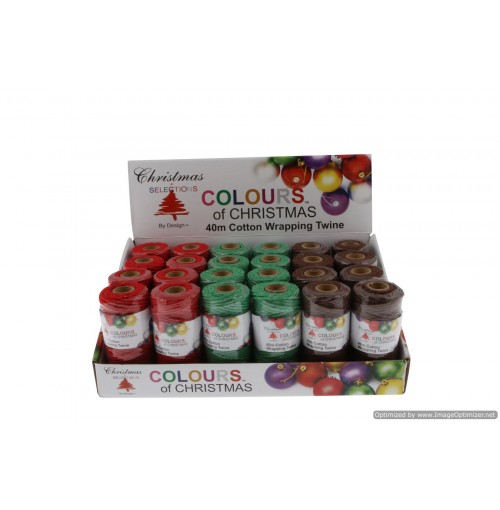 Cotton Wrapping Twine 40m 100g 3 Asst In Pdq Red/Green/Brown