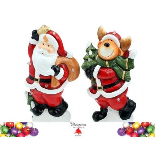 Standing Ornament Santa  &Amp; Reindeer 23cm W/Led 2 Asst