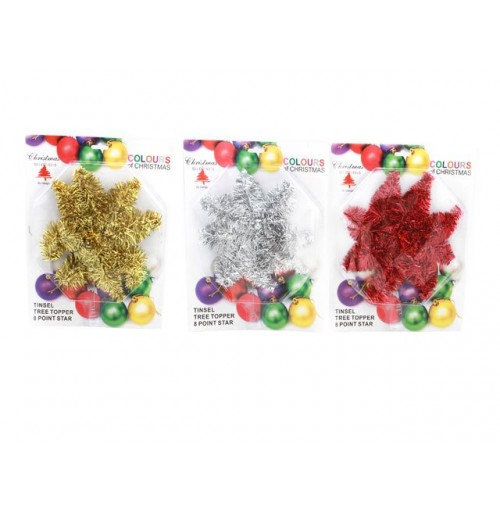 Tinsel Tree Topper 8point Star Red/ Gold/ Silver