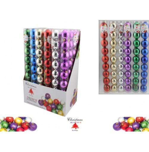 Xmas Disco Ball Baubles 60mm 9pk 6 Asst Colrs