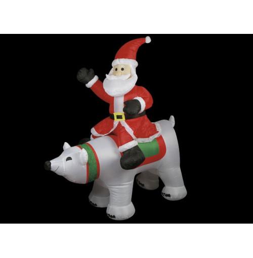 Inflatable Santa &Amp; Polar Bear 1.5m W/4 Lights 2m Ext