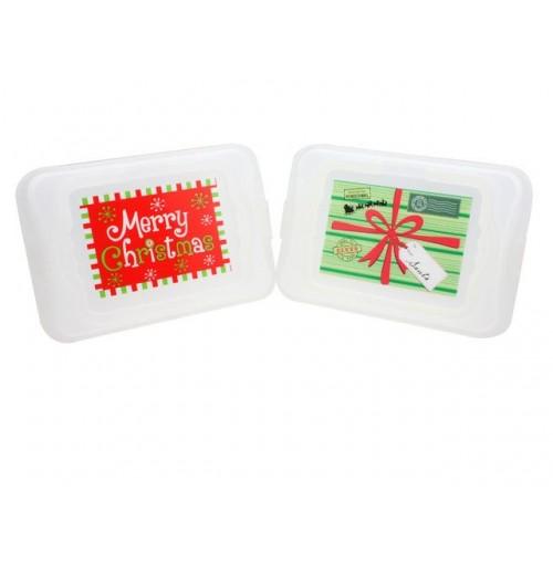Xmas Food Carrier W/ Handles Prints